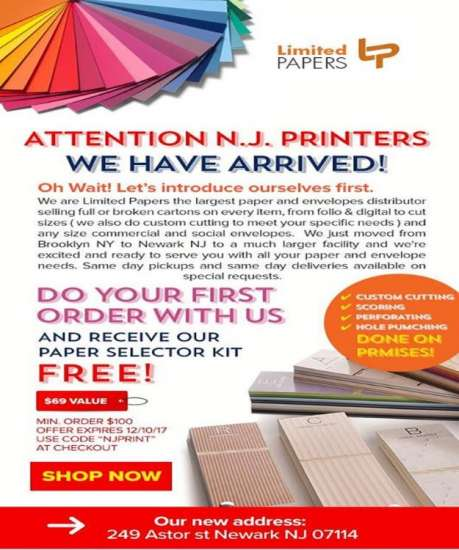 Paper & Envelopes NJ NY we deliver to all 50 States 7/24. Look For Promo Code on Advertisement